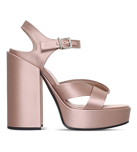 JIL SANDER Satin heeled platform sandals (Pale+pink
