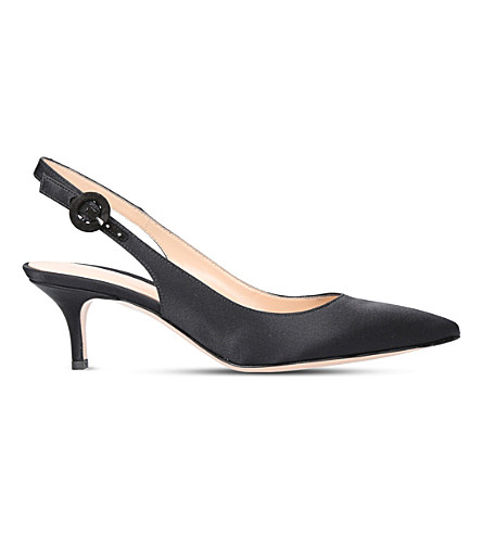 GIANVITO ROSSI Anna 55 satin slingback pumps (Black