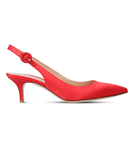 GIANVITO ROSSI Anna 55 satin slingback pumps (Red