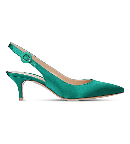 GIANVITO ROSSI Anna 55 satin slingback pumps (Green