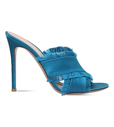 GIANVITO ROSSI Barth 105 fringed satin heeled sandals (Turquoise