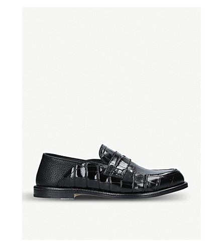 LOEWE Crocodile-embossed leather loafers (Black