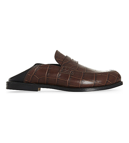 LOEWE Crocodile-embossed leather loafers (Brown/oth
