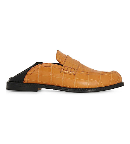 LOEWE Crocodile-embossed leather loafers (Orange
