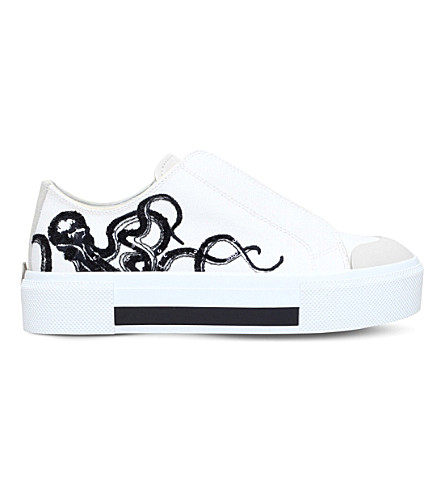 ALEXANDER MCQUEEN Octopus-embroidered leather platform trainers (White/blk