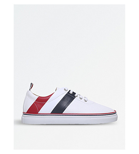 THOM BROWNE Striped pebble-grain leather trainers (White/oth
