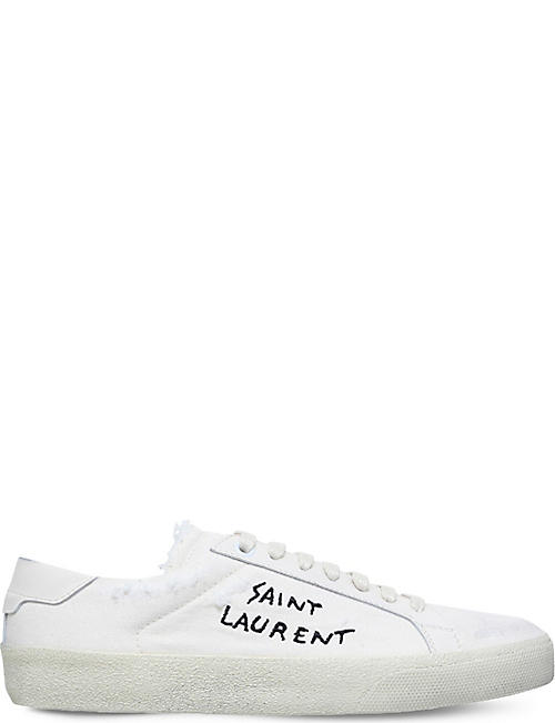 eaae2e77bfa SAINT LAURENT Court Classic distressed leather-trimmed textile trainers