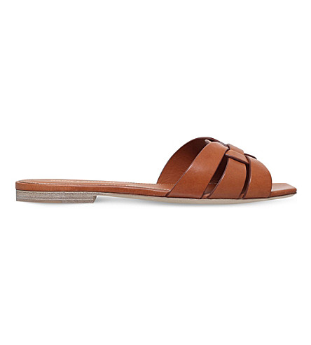 SAINT LAURENT Nu Pieds 05 leather sandals (Tan