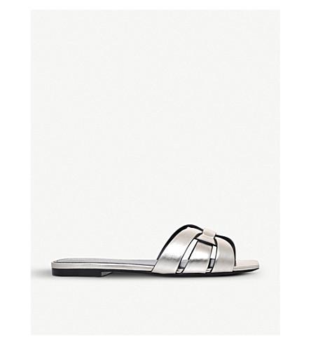 SAINT LAURENT Nu Pieds 05 metallic-leather sandals (Gold