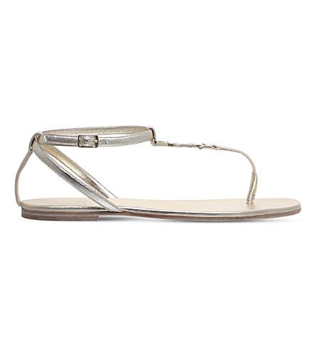 SAINT LAURENT NU Pieds leather sandals (Gold