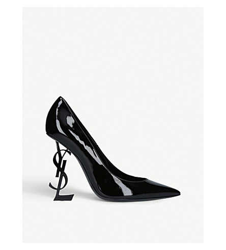 SAINT LAURENT Opyum logo heel patent leather courts (Black