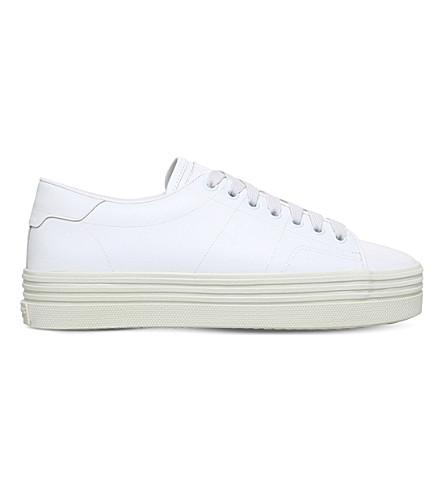 SAINT LAURENT Chunky leather flatform trainer (White