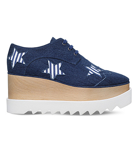 STELLA MCCARTNEY Elyse Stars denim flatform derby shoes (Denim