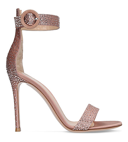 GIANVITO ROSSI Elysium strass-embellished satin sandals (Taupe+comb