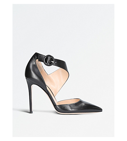 GIANVITO ROSSI Vela leather side buckle pumps (Black