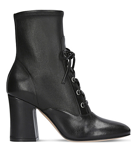 GIANVITO ROSSI Palmer lace-up leather sock boots 85mm (Black