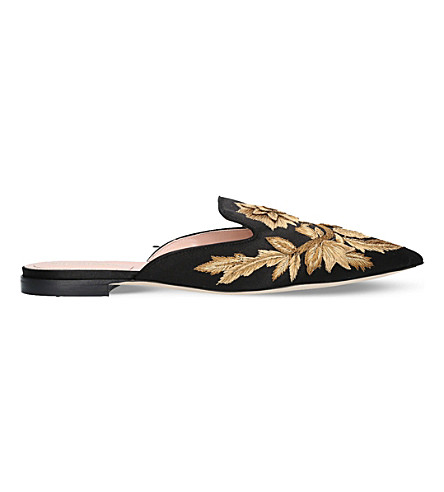 ALBERTA FERRETTI Mia embroidered linen and silk mules (Blk/other