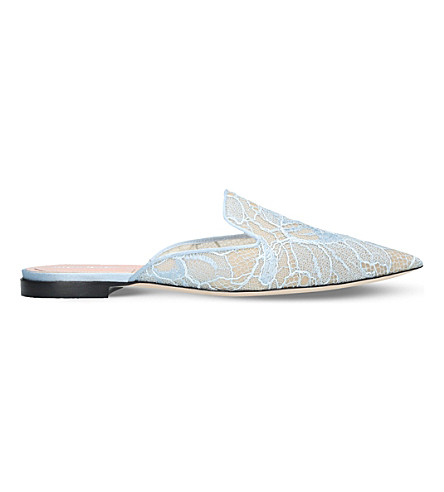 ALBERTA FERRETTI Mia slip-on lace mules (Pale+blue