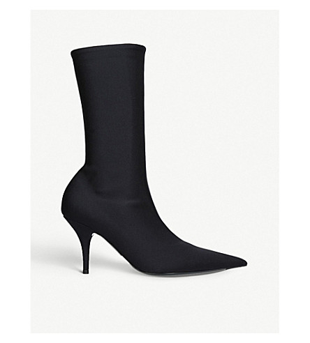 BALENCIAGA刀 110 氨纶高跟鞋踝靴 (黑色