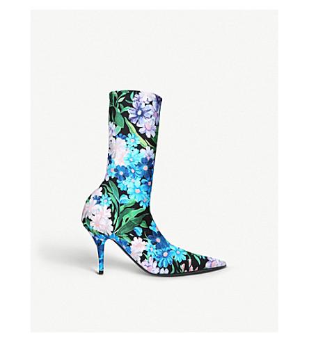 BALENCIAGA刀花打印弹力平纹针织踝靴 (蓝色 + 其他