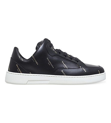 BALENCIAGA New Logo leather trainers (Blk/other