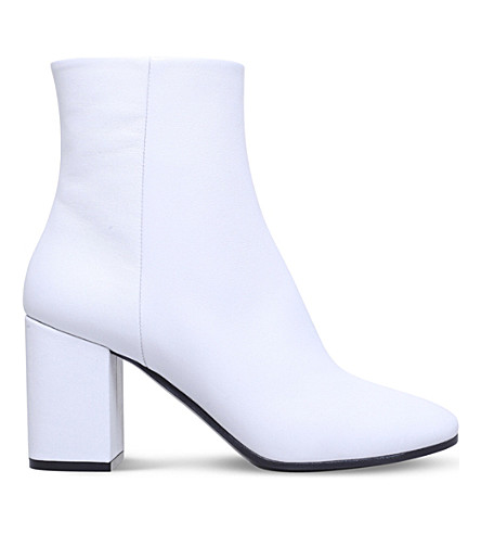 BALENCIAGA Ville leather heeled ankle boots (White