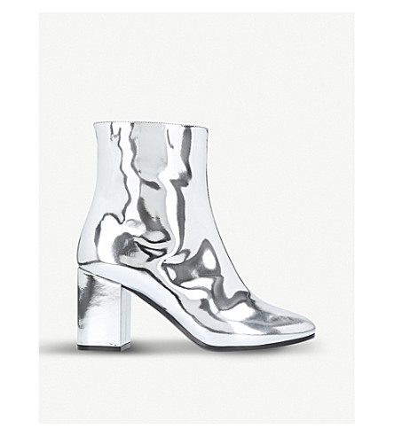 BALENCIAGA Ville patent leather heeled ankle boots (Silver