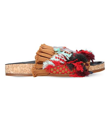 CHLOE Kerenn woven sliders (Tan