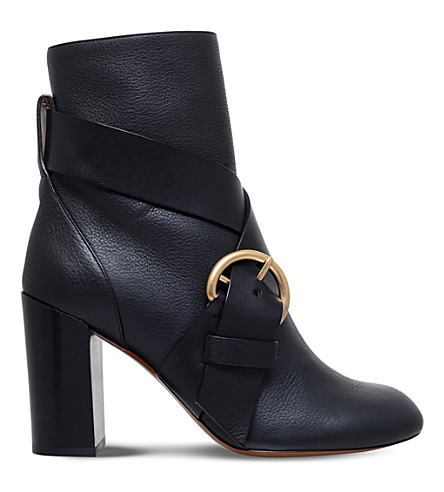 CHLOE Nils buckled leather ankle boots (Black