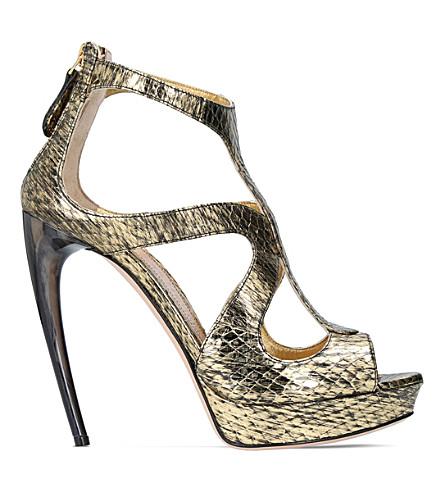 ALEXANDER MCQUEEN Horn heel metallic snakeskin sandals (Gold