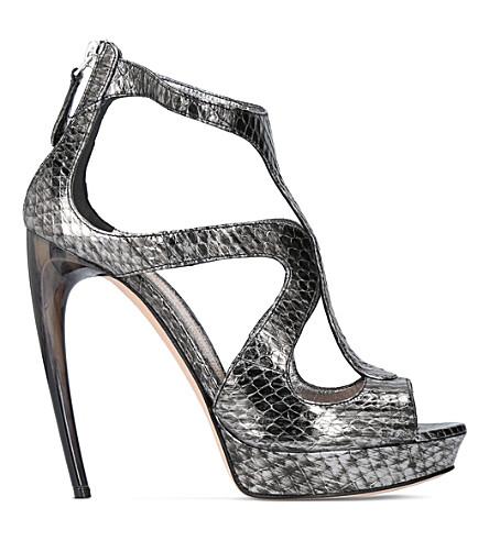 ALEXANDER MCQUEEN Horn heel metallic snakeskin sandals (Silver