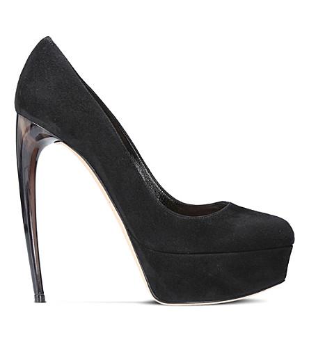 ALEXANDER MCQUEEN Horn suede heeled pumps (Black