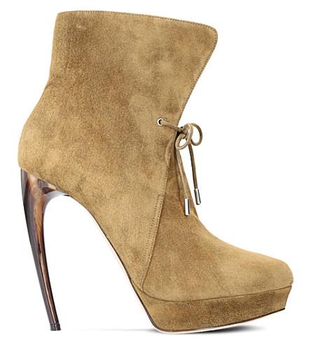 ALEXANDER MCQUEEN Horn suede heeled ankle boots (Bronze