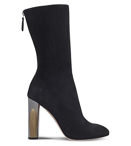 ALEXANDER MCQUEEN Metallic-heel suede ankle boots (Black