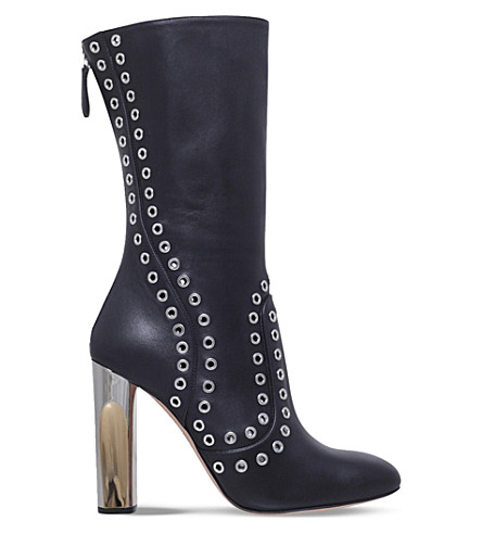 ALEXANDER MCQUEEN Rivet heeled leather boots (Black