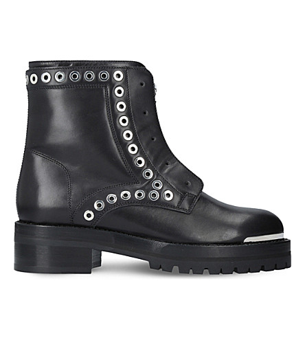 ALEXANDER MCQUEEN Rivet leather biker boots (Black