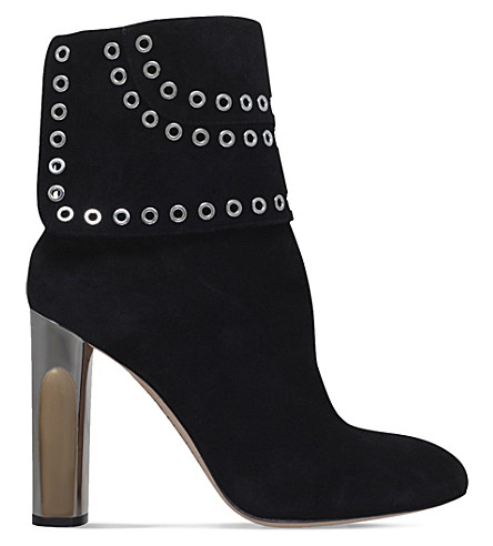 ALEXANDER MCQUEEN Eyelet-detail sculpted suede ankle boots (Black
