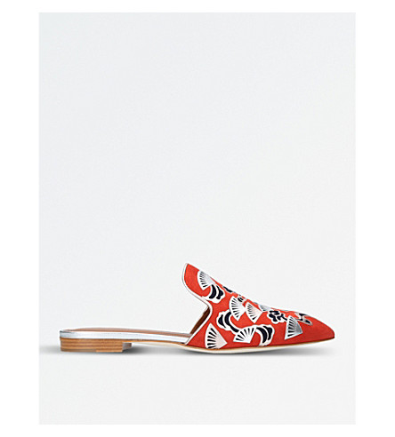 MALONE SOULIERS Marianne backless suede loafers (Orange
