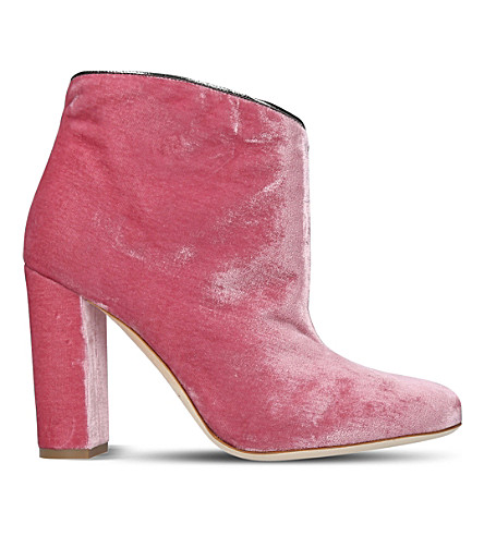 MALONE SOULIERS Eula velvet heeled boots (Pale+pink