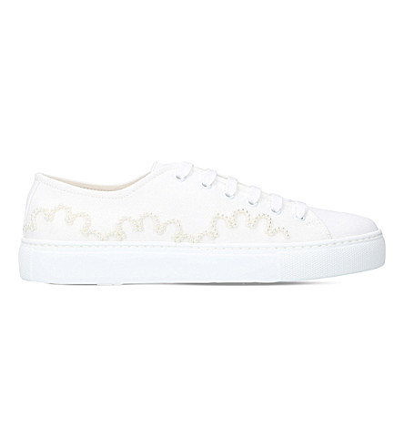 SIMONE ROCHA Faux pearl-embellished canvas trainers (White