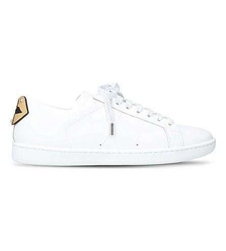 SAINT LAURENT 嘴唇主题皮革运动鞋 (白色或梳子
