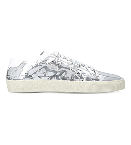 SAINT LAURENT Court Classic metallic leather trainers (Silver