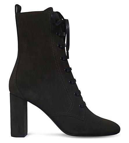 SAINT LAURENT Loulou 95 suede ankle boots (Khaki