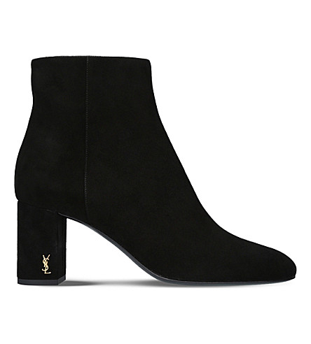 SAINT LAURENT Loulou70 suede ankle boots (Blk/other