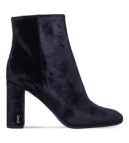 SAINT LAURENT Loulou velvet ankle boots (Black