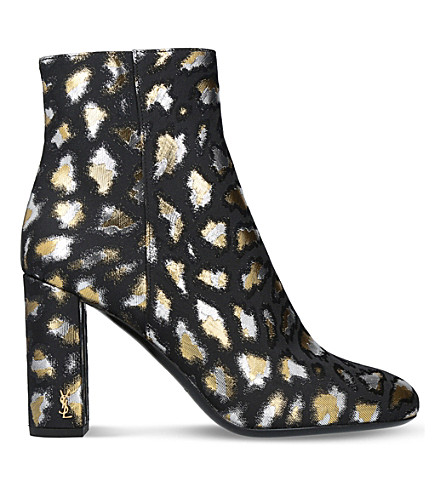 SAINT LAURENT Loulou metallic ankle boots (Gold+comb