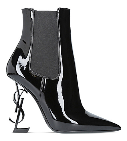 SAINT LAURENT Opyum 110 patent leather ankle boots (Black
