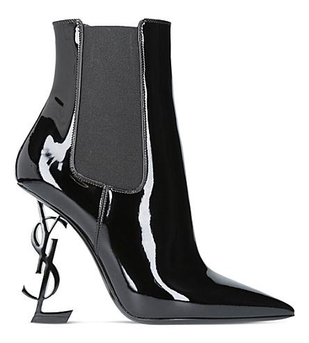 SAINT LAURENT Opyum 110 patent leather ankle boots (Black