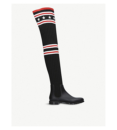 GIVENCHY Storm rubber and cotton rainboots (Blk/red