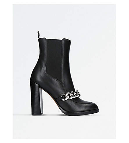 GIVENCHY Laura chain-trimmed leather heeled ankle boots (Black